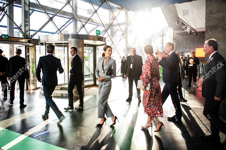 Danish Crown Prince Frederik (2-L) and Crown Princess Mary (C) with Swedish Crown Princess Victoria (C-R) and Prince Daniel (C-L) at the Confederation of Danish Industry 2019 Summit in the Concert Hall in Copenhagen, Denmark, 17 September 2019.