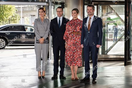 Danish Crown Prince Frederik (R) and Crown Princess Mary (L) pose with Swedish Crown Princess Victoria (2-R) and Prince Daniel at the Confederation of Danish Industry 2019 Summit in the Concert Hall in Copenhagen, Denmark, 17 September 2019.