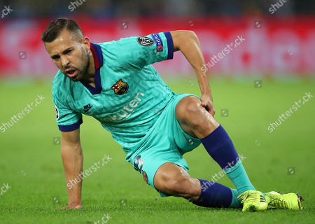 Barcelona's Jordi Alba in action during the UEFA Champions League group F soccer match between Borussia Dortmund and FC Barcelona in Dortmund, Germany, 17 September 2019.