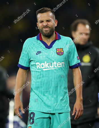 Barcelona's Jordi Alba reacts during the UEFA Champions League group F soccer match between Borussia Dortmund and FC Barcelona in Dortmund, Germany, 17 September 2019.
