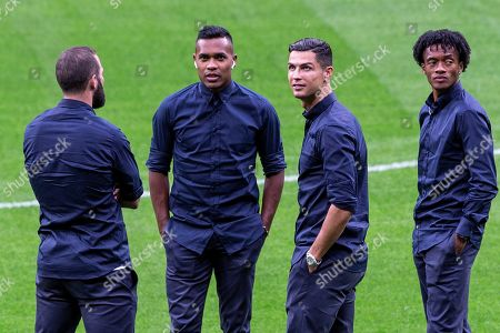 Juventus' (L-R) Gonzalo Higuain, Alex Sandro, Cristiano Ronaldo and Juan Guillermo Cuadrado attend a pitch inspection at Wanda Metropolitano stadium in Madrid, Spain, 17 September 2019. Juventus FC will face Atletico de Madrid in their UEFA Champions League group D soccer match at Wanda Metropolitano stadium on 18 September 2019.