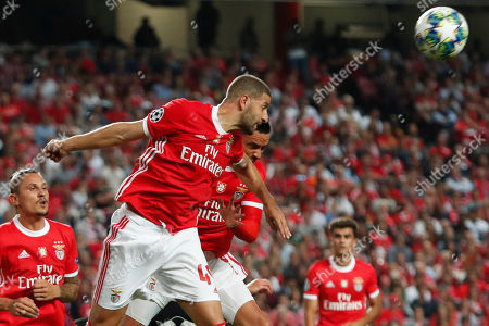 Benfica's Adel Taarabt jumps for the ball during the Champions League group G soccer match between Benfica and Leipzig at the Luz stadium in Lisbon