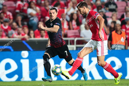 SL Benfica player Ruben Dias (R) in action against RB Leipzig's Sabitzer during their UEFA Champions League Group G soccer match, at Luz Stadium, Lisbon, Portugal, 17th September  2019.