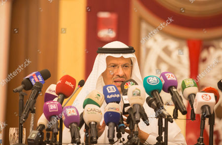 Prince Abdulaziz bin Salman, the Saudi Minister of Energy, gives a press conference in Jeddah, Saudi Arabia, 17 September 2019. Prince Abdulaziz bin Salman said that his country's oil production will be fully restored by the end of September, after the drone attack that knocked out almost half of the country's production.