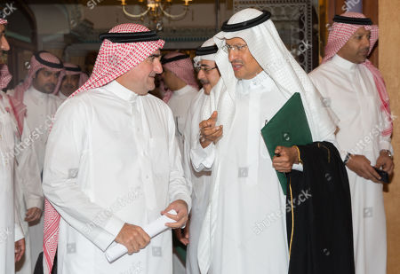 Prince Abdulaziz bin Salman (R), the Saudi Minister of Energy, walks at a press conference in Jeddah, Saudi Arabia, 17 September 2019. Prince Abdulaziz bin Salman said that his country's oil production will be fully restored by the end of September, after the drone attack that knocked out almost half of the country's production.