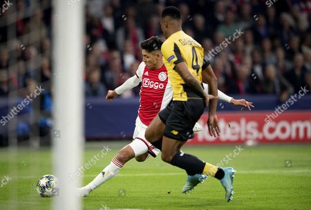 Edson Alvarez of Ajax (L) scores the 2-0 goal during the UEFA Champions League  match between Ajax Amsterdam and OSC Lille  in Amsterdam, Netherlands, 17 September 2019.