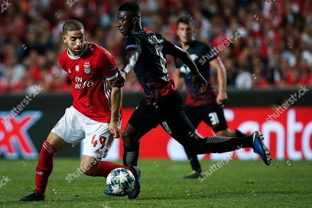 Benfica's Adel Taarabt (L) in action against RB Leipzig´s  Amadou Haidara (R) during their UEFA Champions League Group G soccer match at Luz Stadium, Lisbon, Portugal, 17 September 2019.