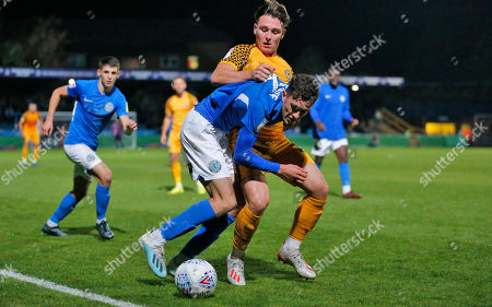 Stock Photo of Danny McNamara of Newport County and Corey O'Keefe of Macclesfield Town