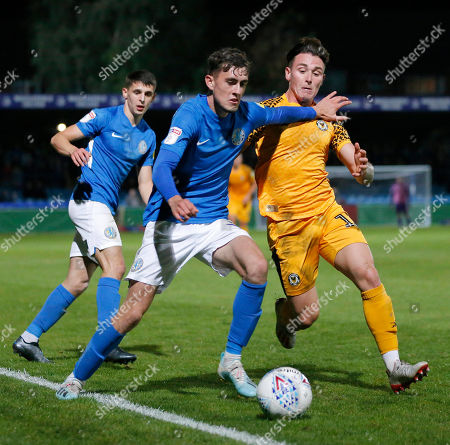 Stock Picture of Danny McNamara of Newport County and Corey O'Keefe of Macclesfield Town
