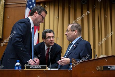 United States Representative Jerrold Nadler speaks to his counsel prior to the testimony of Former Campaign Manager of United States President Donald Trump's 2016 campaign Corey Lewandowski on Capitol Hill