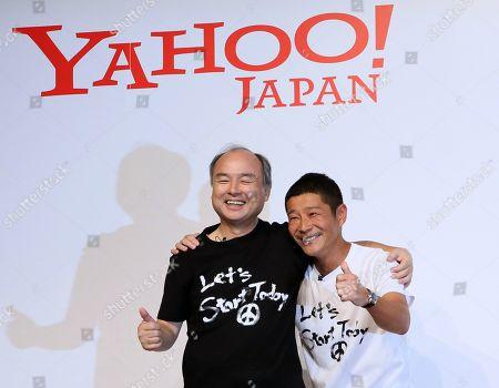 Editorial photo of SoftBank CEO and Chairman Masayoshi Son and founder of Zozo, and Japanese billionaire  Yusaku Maezawa, Tokyo, Japan - 12 Sep 2019