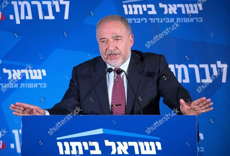 Avigdor Lieberman, leader of the Yisrael Beitenu party, speaks after early exit polls in the general election, during a rally with supporters in Jerusalem, Israel, 17 September 2019. Early polls gave Israeli Prime Minister Benjamin Netanyahu's Likud party and Benny Gantz's Blue and White party almost equal amount of Knesset seats in the Israeli general elections.