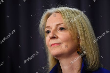 UK Secretary of State for International Trade Liz Truss speaks during a press conference at Parliament House in Canberra, Australia, 18 September 2019.
