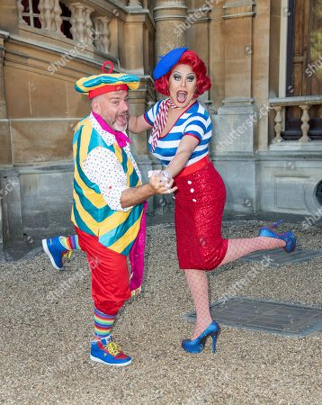 Andy Collins (Louis Pot et Pan) and La Voix (Polly Pot et Pan) attend the Beauty & The Beast pantomime press launch at Waddesdon Manor, Aylesbury.