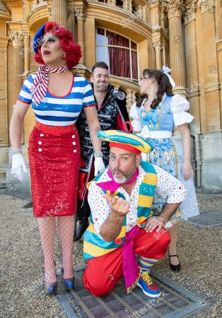 La Voix (Polly Pot et Pan), Andy Collins (Louis Pot et Pan), Amelia Adams-Pearce (Belle) and Michael Quinn (Hugo Pompidou) attend the Beauty & The Beast pantomime press launch at Waddesdon Manor, Aylesbury.