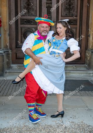 Andy Collins (Louis Pot et Pan) and Amelia Adams-Pearce (Belle) attend the Beauty & The Beast pantomime press launch at Waddesdon Manor, Aylesbury.