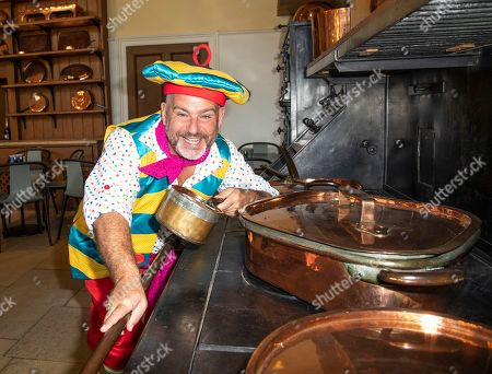 Stock Image of Andy Collins (Louis Pot et Pan) attends the Beauty & The Beast pantomime press launch at Waddesdon Manor, Aylesbury.