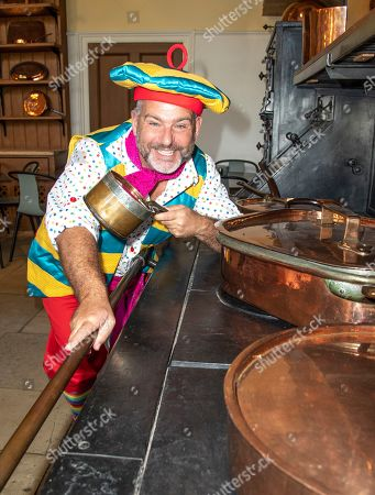 Stock Picture of Andy Collins (Louis Pot et Pan) attends the Beauty & The Beast pantomime press launch at Waddesdon Manor, Aylesbury.