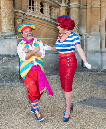 Stock Photo of Andy Collins (Louis Pot et Pan) and La Voix (Polly Pot et Pan) attend the Beauty & The Beast pantomime press launch at Waddesdon Manor, Aylesbury.