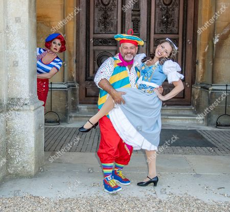 (L-R) La Voix (Polly Pot et Pan), Andy Collins (Louis Pot et Pan) and Amelia Adams-Pearce (Belle) attend the Beauty & The Beast pantomime press launch at Waddesdon Manor, Aylesbury.