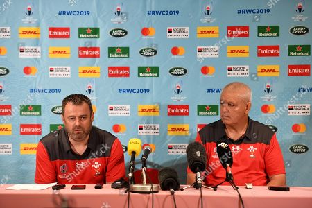 Stock Photo of WRU Chief Executive Martyn Phillips and Head Coach Warren Gatland talk to media.