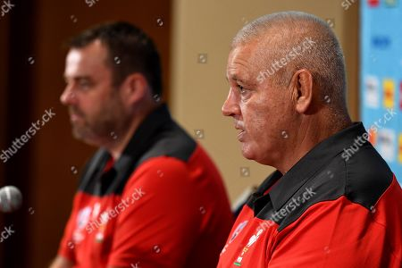 Stock Picture of WRU Chief Executive Martyn Phillips and Head Coach Warren Gatland talk to media.