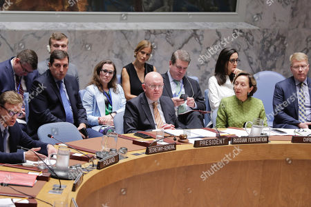 Vasily Nebenzya, Permanent Representative of the Russian Federation to the United Nations and President of the Security Council for the month of September, chairs the Security Council meeting on the situation in Afghanistan today at the UN Headquarters in New York.