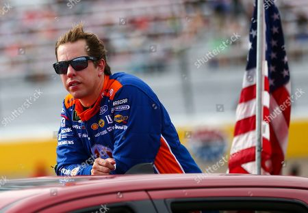 Brad Keselowski looks on before a NASCAR Cup Series auto race at the Las Vegas Motor Speedway on
