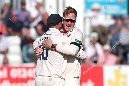 Stock Image of Simon Harmer of Essex celebrates taking the wicket of Ben Foakes during Essex CCC vs Surrey CCC, Specsavers County Championship Division 1 Cricket at The Cloudfm County Ground on 18th September 2019