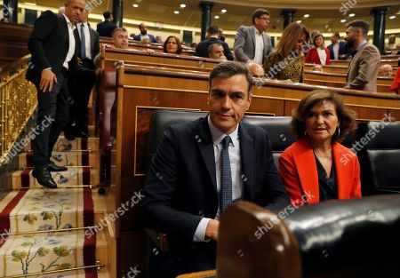 Spanish acting Prime Minister, Pedro Sanchez (L), and acting deputy Prime Minister, Carmen Calvo (R), attend the last question time session at Parliament before elections, in Madrid, Spain, 18 September 2019. The country will be holding elections for a second time in a year on 10 November 2019, after Sanchez failed to form a government.