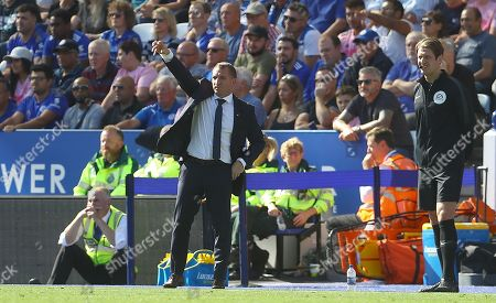 Leicester City manager Brendan Rodgers gestures on the touchline