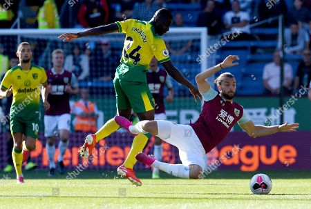 Ibrahim Amadou of Norwich City and Jay Rodriguez of Burnley
