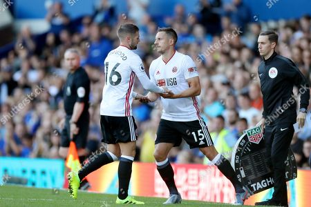 Oliver Norwood of Sheffield United is substituted for Phil Jagielka