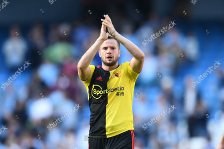 Tom Cleverley of Watford shows a look of dejection after the game.