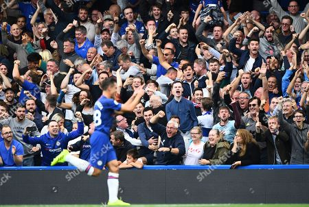 Cesar Azpilicueta and Chelsea fans celebrate what he thought was a good goal only for it to be over ruled for offside by VAR