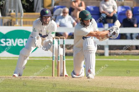 Stock Picture of 50 - Chris Wright sweeps Samit Patel to go to 50 during the Specsavers County Champ Div 2 match between Glamorgan County Cricket Club and Leicestershire County Cricket Club at the SWALEC Stadium, Cardiff