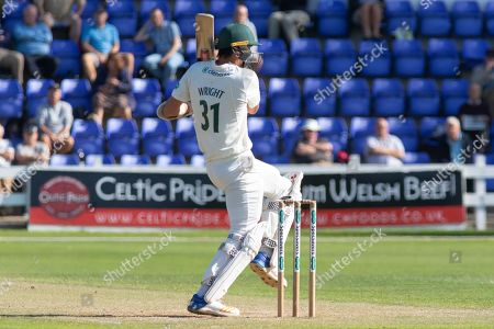 Chris Wright cuts for 4 during the Specsavers County Champ Div 2 match between Glamorgan County Cricket Club and Leicestershire County Cricket Club at the SWALEC Stadium, Cardiff