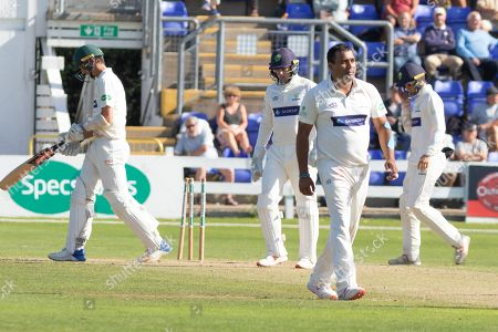 WICKET - Samit Patel has Chris Wright stumped during the Specsavers County Champ Div 2 match between Glamorgan County Cricket Club and Leicestershire County Cricket Club at the SWALEC Stadium, Cardiff