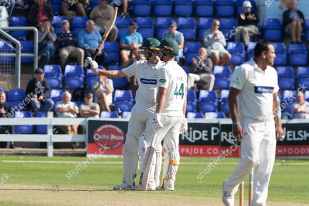 50 - Chris Wright acknowledges the crowd on reaching 50during the Specsavers County Champ Div 2 match between Glamorgan County Cricket Club and Leicestershire County Cricket Club at the SWALEC Stadium, Cardiff
