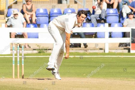 Stock Image of Chris Wright bowling during the Specsavers County Champ Div 2 match between Glamorgan County Cricket Club and Leicestershire County Cricket Club at the SWALEC Stadium, Cardiff
