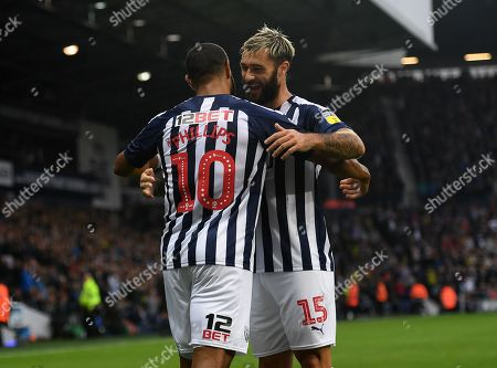 Matt Phillips of West Bromwich Albion celebrates with Charlie Austin after scoring his side's first goal