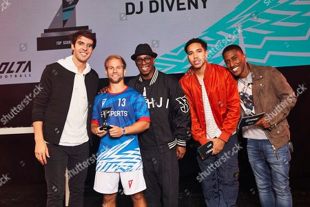 Kaka, Ian Wright and Harry Pinero pose with a winner as players from across 15 cities compete in a 5-a-side football tournament at the EA SPORTS FIFA 20 World Premiere. FIFA 20 is available from September 27th