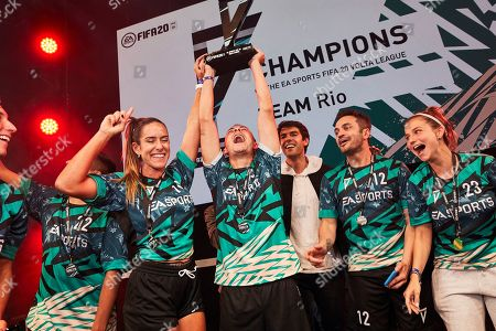 Stock Photo of Kaka poses with winners as players from across 15 cities compete in a 5-a-side football tournament at the EA SPORTS FIFA 20 World Premiere. FIFA 20 is available from September 27th
