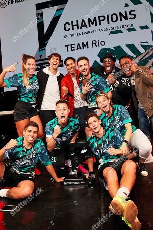 Kaka, Ian Wright and Harry Pinero pose with winners as players from across 15 cities compete in a 5-a-side football tournament at the EA SPORTS FIFA 20 World Premiere. FIFA 20 is available from September 27th