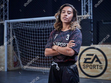 Chelcee Grimes (Team London) poses as players from across 15 cities compete in a 5-a-side football tournament at the EA SPORTS FIFA 20 World Premiere. FIFA 20 is available from September 27th