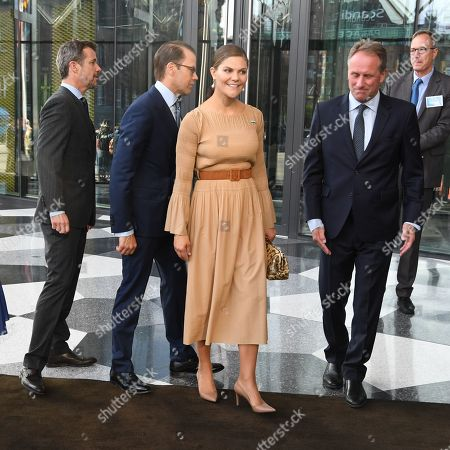 Sweden's Crown Princess Victoria and Prince Daniel and Denmark's Crown Prince Frederik and Crown Princess Mary arrive for a Swedish-Danish business forum