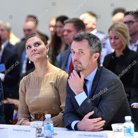Sweden's Crown Princess Victoria and Denmark's Crown Prince Frederik during a Swedish-Danish business forum