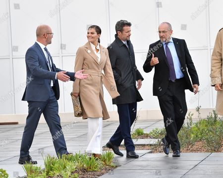 Sweden's Crown Princess Victoria and Denmark's Crown Prince Frederik visit the Amager Slope or Copenhill, which is a combined heat and power waste-to-energy plant in Amager