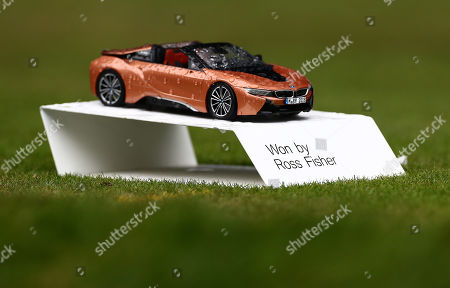 The name of Ross Fisher is seen on the 18th tee after he won a BMW in the previous round for an albatross.