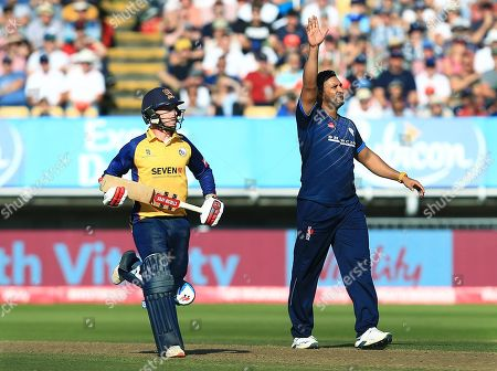 Ravi Rampaul of Derbyshire Falcons celebrates taking the wicket of Ravi Bopara of Essex Eagles